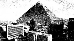 Monitor Gray - Pyramid by Peter Rubin superimposed into downtown Phoenix, sketch